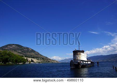 Old Tug Boat Moored On Lake Okanagan