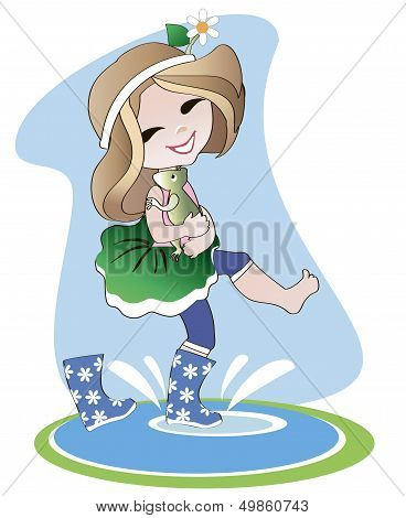 Little Girl In Rubber Boots
