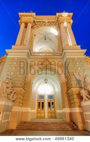 Old Opera Theatre Building In Odessa Ukraine Night