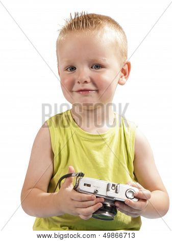 Toddler With A Photo Camera On A White Background