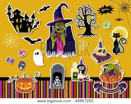 Halloween Symbols and Icons - Set of paper cutout stickers with Halloween symbols, including witch, gnarled tree, skulls, black cat and witches cauldron. Also included Halloween stripe pattern