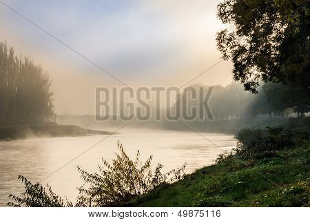 Fog In Autumn On The River