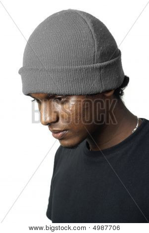 Sad Asian Teen With Beanie Hat Portrait