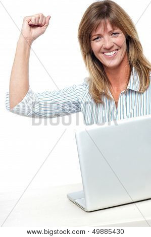 Excited Businesswoman Celebrating Her Success