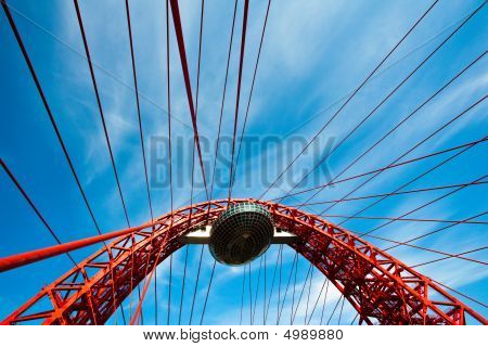 Red Suspended Bridge Construction In Moscow