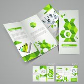 Professional business three fold flyer template, corporate brochure or cover design in green color, can be use for publishing, print and presentation.  poster