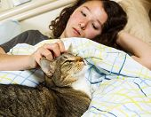 Photo of family cat and young girl waking up in the morning in bed with both their eyes open poster