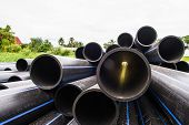 HDPE pipe for water supply at construction site poster