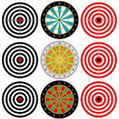 Targets Set. Collection set of Paper Target, Archery Target, Darts board on white background. poster