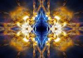 Abstract light burst against a dark blue background poster