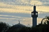 London Central Mosque (Regents Park Mosque) England UK at sunset poster