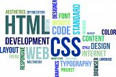 A word cloud of html and css related items poster