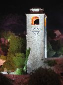 night view of Clock Tower in the old fortress of Bar, Montenegro poster