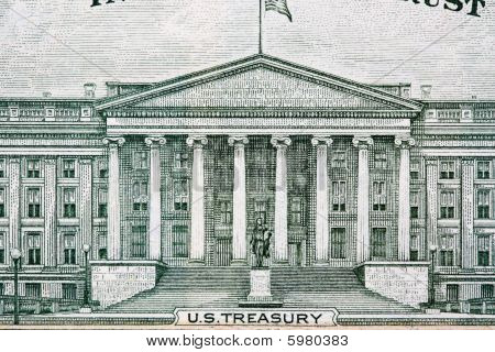 U.s. Treasury Building From Ten Dollar Bill