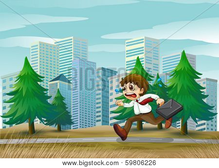 Illustration of a man running hurriedly