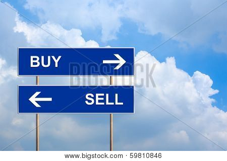 Buy And Sell On Blue Road Sign