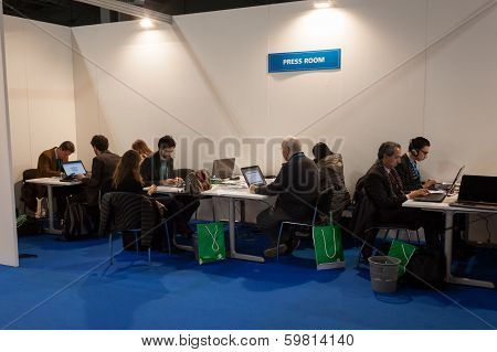 Journalists In The Press Room At Bit 2014, International Tourism Exchange In Milan, Italy