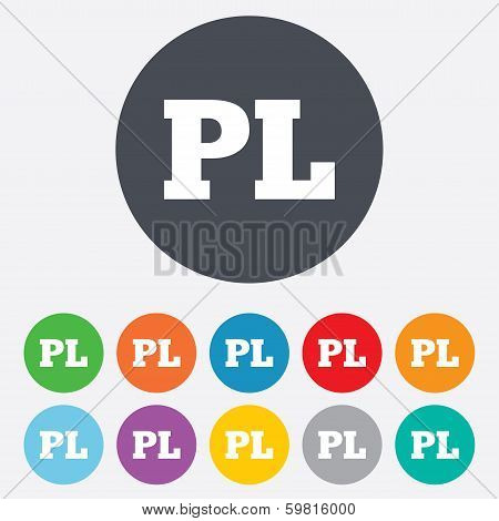 Polish language sign icon. PL translation symbol. Round colourful 11 buttons. Vector poster