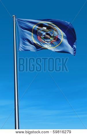 Utah (USA) flag waving on the wind