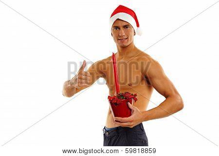 Santa Claus shows thumb up