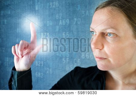 Attractive Businesswoman Pressing Touch Screen Button