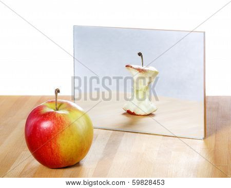 Apple in the mirror image,abstract vision