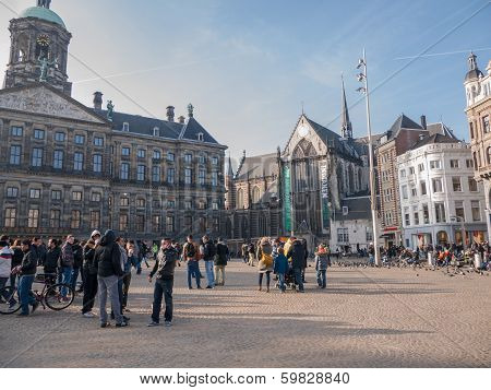 Royal Palace And New Church In Amsterdam