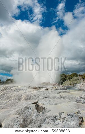 Pohutu and Prince of Wales geysers in Rotorua area, New Zealand