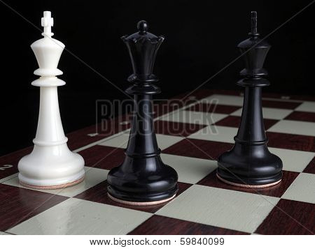White King checkmated by black Queen with Black King on chessboard