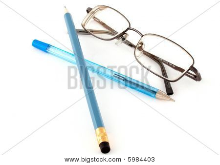 Glasses, Pen And Pencil-the Symbols Of The Past