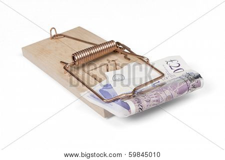 Mouse trap with British pounds, isolated over white with clipping path.