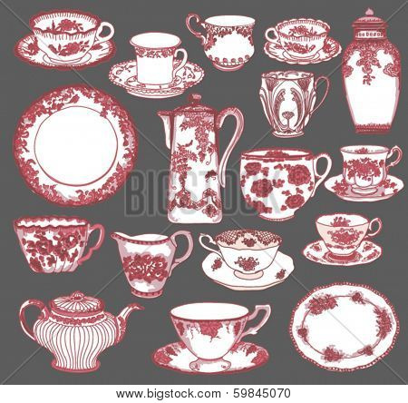 Fine China - Set of hand drawn porcelain teacups and saucers, teapots, plates, creamers etc, in pink and red Toile de Jouy pattern