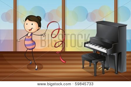Illustration of a gymnast inside the music room