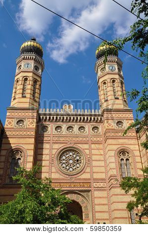 The Great Synagogue in Budapest, Hungary on a sunny day poster