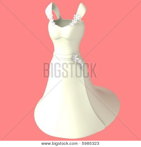 White Dress With Flower Decoration - 3D Computer Generated