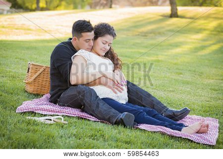 Peaceful Pregnant Hispanic Couple in The Park Outdoors. poster