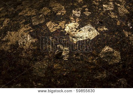Gold Foil On Rock Texture