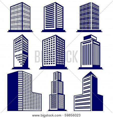 Buildings abstract icon set vector  illustration
