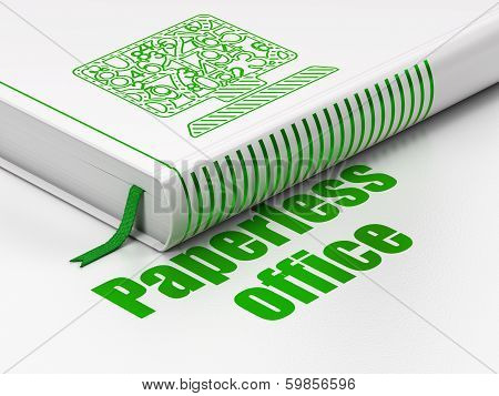 Finance concept: book Computer Pc, Paperless Office on white background