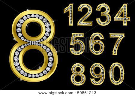 Number set, from 1 to 9, golden with diamonds, vector illustration
