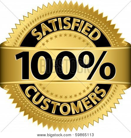 100 percent satisfied customers golden label, vector illustration