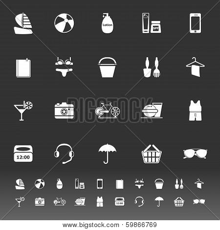 Beach Icons On Gray Background