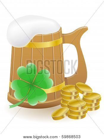 Mag Beer Clover And Coins St. Patrick`s Day Vector Illustration