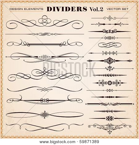 Calligraphic Design Elements, Dividers And Dashes