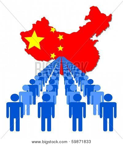 Lines of people with China map flag vector illustration