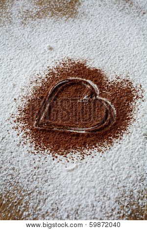 Chocolate Heart On Icing Sugar