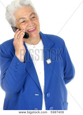 Senior Woman Enjoying A Cell Phone Conversation