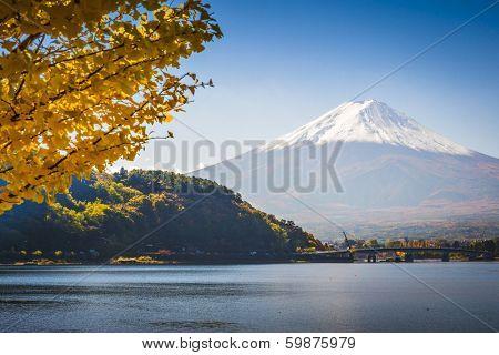 Fuji Mountain on Lake Kawaguchi in the fall season.