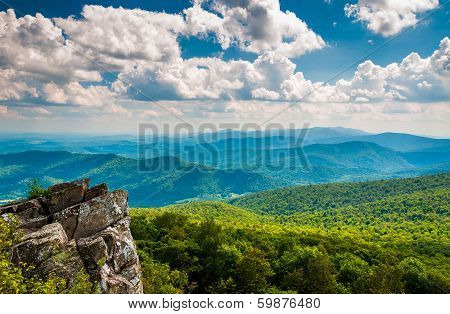 Cliffs And View Of The Blue Ridge Mountains From North Marshall, Shenandoah National Park, Virginia.