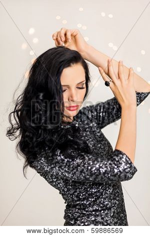 Beautiful Dreamy Woman With Glitter Dress Dancing